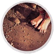 Round Beach Towel featuring the photograph Yogis Toesies by T Brian Jones