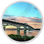 York River Bridge Round Beach Towel