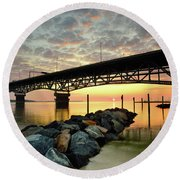 York River Sunrise Round Beach Towel