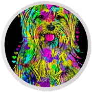 Yorkie Beauty Round Beach Towel