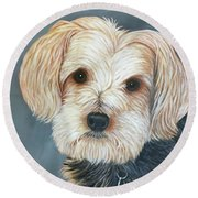 Yorkie Portrait Round Beach Towel