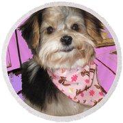 Yorkie With Bandana Round Beach Towel