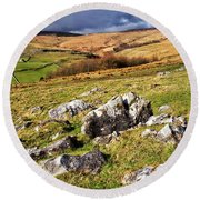 Yorkshire Dales Limestone Countryside Round Beach Towel