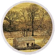 Yorkshire Dales Stone Barn Round Beach Towel