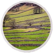 Yorkshire Dales Stone Walls Round Beach Towel