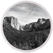 Yosemite B/w Round Beach Towel
