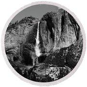 Yosemite Black Falls  Round Beach Towel