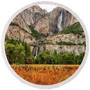 Yosemite Falls Autumn Colors Round Beach Towel