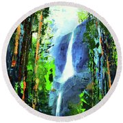 Round Beach Towel featuring the painting Yosemite Falls by Elise Palmigiani
