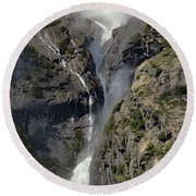 Yosemite Falls From The Four Mile Trail Round Beach Towel