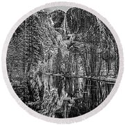 Round Beach Towel featuring the photograph Yosemite Falls From The Swinging Bridge In Black And White by Bill Gallagher