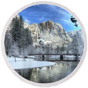 Yosemite Falls Swinging Bridge Yosemite National Park Round Beach Towel
