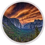 Yosemite Fire Round Beach Towel by Rick Berk