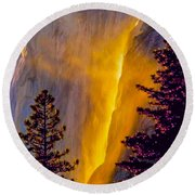 Yosemite Firefall Painting Round Beach Towel