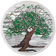 Round Beach Towel featuring the drawing Yosemite Love Tree by Aaron Bombalicki