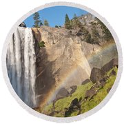 Yosemite Mist Trail Rainbow Round Beach Towel