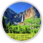Round Beach Towel featuring the painting Yosemite National Park Bridalveil Fall by Christopher Arndt