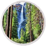 Round Beach Towel featuring the painting Yosemite National Park Bridalveil Fall Trees by Christopher Arndt
