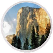 Round Beach Towel featuring the painting Yosemite National Park El Capitan by Christopher Arndt