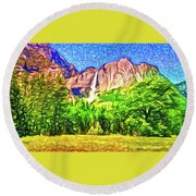 Round Beach Towel featuring the painting Yosemite National Park by Joan Reese