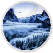 Round Beach Towel featuring the painting Yosemite National Park Tunnel View Snowy Morning by Christopher Arndt