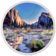 Round Beach Towel featuring the painting Yosemite National Park Valley by Christopher Arndt