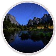 Yosemite Nights Round Beach Towel