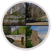 Yosemite Panel 2x2  Round Beach Towel