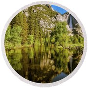 Yosemite Reflections On The Merced River Round Beach Towel