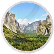 Yosemite Tunnel View Afternoon Round Beach Towel