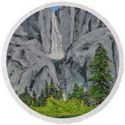 Yosemite Upper Falls Round Beach Towel