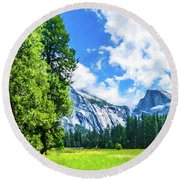 Yosemite Valley And Half Dome Digital Painting Round Beach Towel