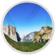 Round Beach Towel featuring the photograph Yosemite Valley- by JD Mims