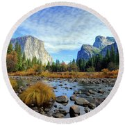Yosemite Valley View Round Beach Towel