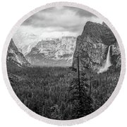 Yosemite View 38 Round Beach Towel