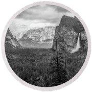 Yosemite View 38 Round Beach Towel