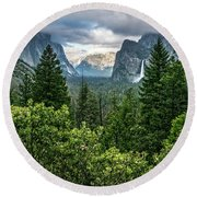 Last Light For Tunnel View Round Beach Towel