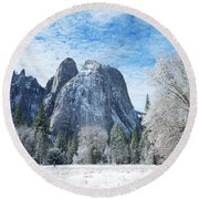 Yosemite Winter Fantasy Round Beach Towel