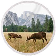 Yosemite's Half Dome And Two Deer Round Beach Towel