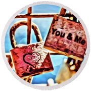You And Me Round Beach Towel