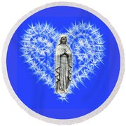 You Are Deeply Loved - Blue Background Round Beach Towel