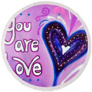 Round Beach Towel featuring the painting You Are Love Purple Heart by Bob Baker and Pooki Lee