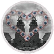 You Are My Lighthouse Round Beach Towel