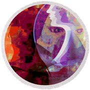 Round Beach Towel featuring the mixed media You Can Beat It by Fania Simon