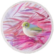 Round Beach Towel featuring the painting You Looking At Me? by Ivana Westin