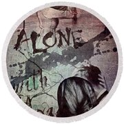 Round Beach Towel featuring the mixed media You by Mo T