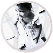 Round Beach Towel featuring the photograph You'll Spill It by Jez C Self
