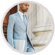 Young African American Businessman Working In New York Round Beach Towel