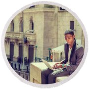 Young African American Man Working On Wall Street In New York Round Beach Towel