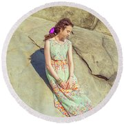Young American Woman Summer Fashion In New York Round Beach Towel